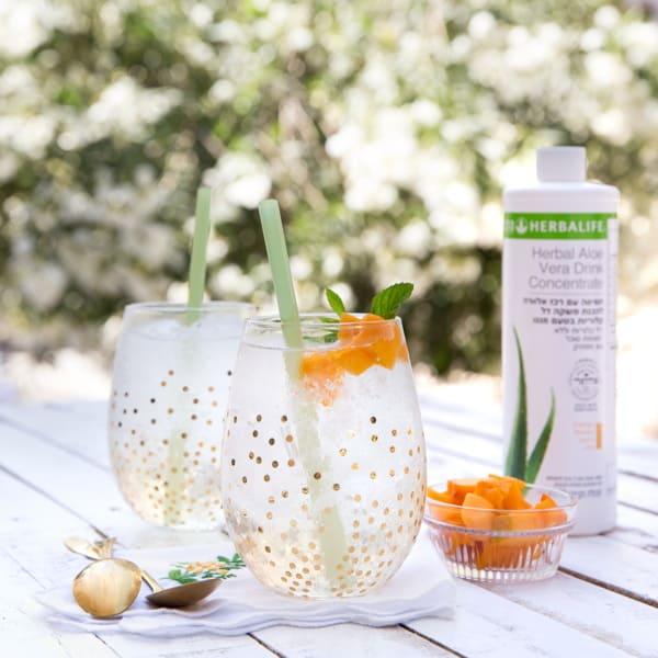 משקה אלוורה: רכז להכנת משקה אלוורה דל קלוריות בטעם מנגו
